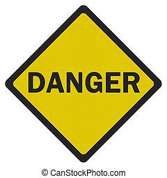 foto, realistisch, 'danger', meldingsbord, vrijstaand, op wit