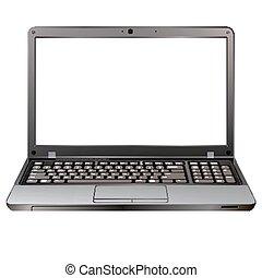 foto, realistisch, draagbare computer, vrijstaand, op wit, achtergrond