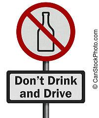 foto, realistisch, ', drank, en, drive', meldingsbord, vrijstaand, op wit