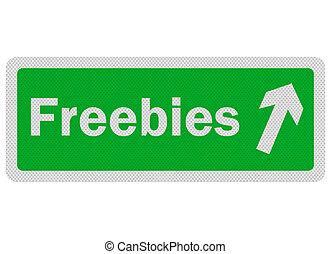foto, realistisch, 'freebies', meldingsbord, vrijstaand, op wit