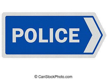 foto, realistisch, 'police', meldingsbord, vrijstaand, op wit