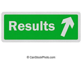 foto, realistisch, 'results', meldingsbord, vrijstaand, op wit