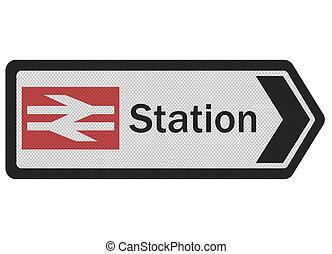 foto, realistisch, 'station', meldingsbord, vrijstaand, op wit