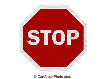 foto, realistisch, 'stop', meldingsbord, vrijstaand, op wit