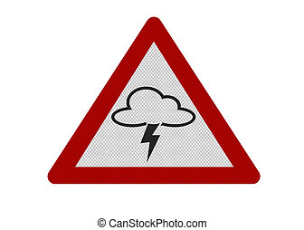 foto, realistisch, 'thunderstorm', meldingsbord, vrijstaand, op wit