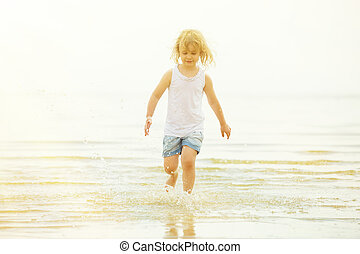 foto, respingue, costa, tingido, água corrente, criança, praia