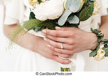 foto, ring, wedding, schöne , kupiert, blumengebinde, besitz, braut