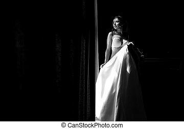 foto, ropa interior, negro, blanco, novia
