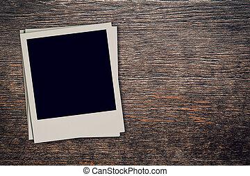 foto, ruimte, ouderwetse , frame, hout, achtergrond, leeg