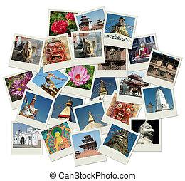 foto, señales, nepal, pila, tiros