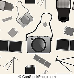 foto, seamless, vector, achtergrondmodel, fototoestel