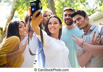 foto, selfie, câmera, amigos, fazer