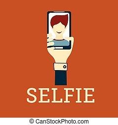foto, selfie, disegno, appartamento