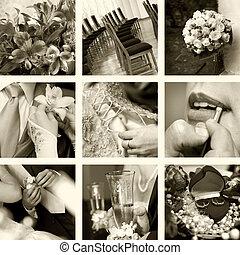 foto, sepia, bröllop