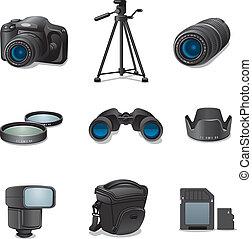 foto, set, accessori, icona