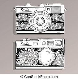 foto, set., cameras, retro