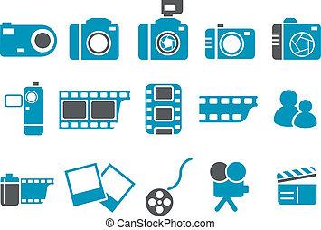 foto, set, icona
