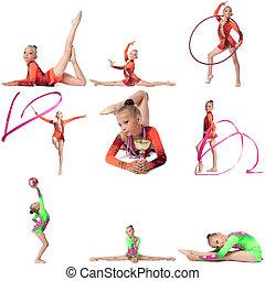 foto, set., joven, campeón, en, gimnasia rítmica