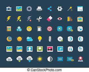 foto, set, pictogram