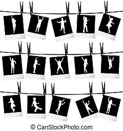 foto, silhoue, koord, verzameling, hangend, lijstjes, ...