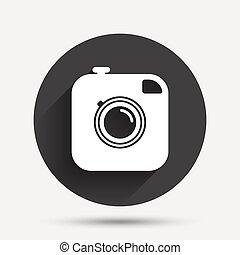 foto, sinal, câmera, hipster, retro, câmera., icon.