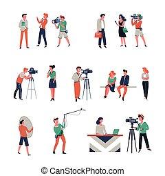 foto, skjutning, och, filma, av, tidender referera, in,...