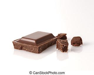 foto, sobre, chocolate, quebrada, fundo, macro, branca, pedaços, bar.