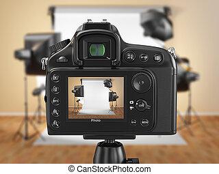 foto, softbox, cámara, estudio, digital, flashes.