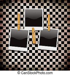 foto, sopra, checkered, retro, fondo