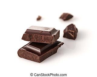 foto, sopra, cioccolato, rotto, fondo, macro, bianco, pezzi, bar.