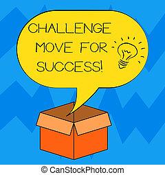 foto, sopra, spostare, idea, segno, vuoto, aperto, movimenti, discorso, testo, concettuale, cartone, bolla, box., success., esposizione, halftone, riuscire, professionale, icona, dentro, strategie, sfida