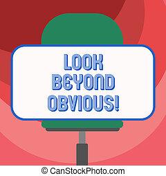 foto, sticker, meldingsbord, zien, leeg, achter, onderwerp, horizontaal, deeply, vragen, chair., tekst, conceptueel, obvious., wartel, zittende , het tonen, blik, vorm, rechthoekig, van belang zijn, meer, of