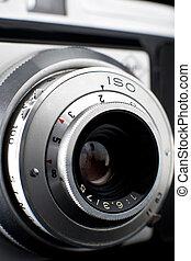 foto, su, lente, macchina fotografica, vendemmia, chiudere