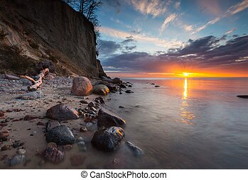 foto, sunrise., longo, costa, mar, báltico, penhasco,...