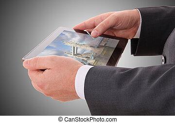 foto, tablet, hand, londen, vasthouden, mannelijke