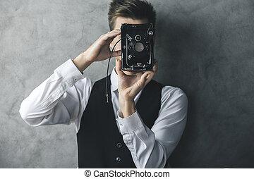 foto, tagande, kamera, retro, man