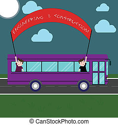 foto, techniek, uit, trip., kennis, twee, schrijvende , aantekening, vasthouden, infrastructuur, zakelijk, bus, het tonen, stok, spandoek, dag, school geitjes, aan het dienen, technisch, binnen, showcasing, construction.