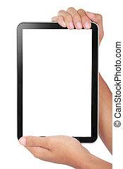 foto, tenido, dos, tableta, manos