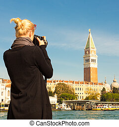foto, toma, venice., hembra, turista
