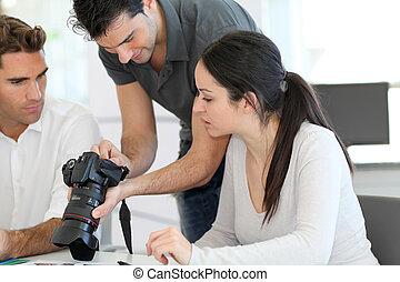 foto, trabajo, reunión, agencia