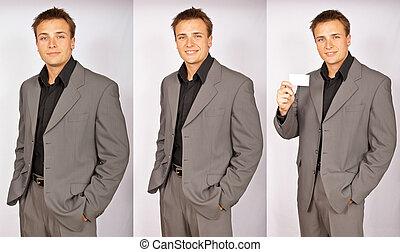 foto, uomo affari, serie