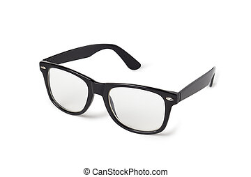 foto, van, black , nerd, bril, vrijstaand, op wit