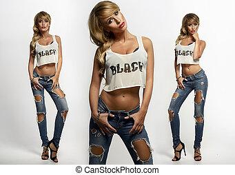 foto, van, drie, sexy, mooi, blonde, vrouwen, met, langharige, het poseren