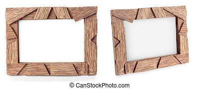 foto, van, houten kader, voor, een, afbeelding, vrijstaand, op wit
