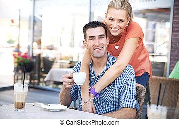 foto, van, ontspannen, paar, in, coffeeshop