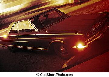 foto, vecchio, macchina parcheggiata