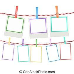 foto, veelkleurig, koord, vector, hangend, lijstjes, clothespins.