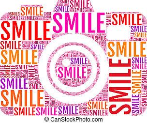 foto, vektor, fotoapperat, lächeln