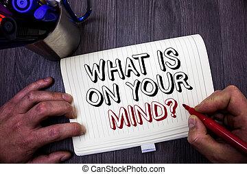 foto, verstand, intellectueel, teken, tafel, open, jouw, wat, schrijvende , vasthouden, innovatie, conceptueel, rood, zakelijk, het tonen, question., hand, ideas., aantekenboekje, georiënteerd, houden, man, denkt, berichten, showcasing