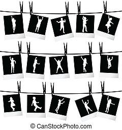 foto, verzameling, koord, silhouettes, hangend, lijstjes, ...